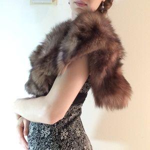 Vintage Jackets & Coats - Stunning Real Fur Vintage Shawl Cape Stole